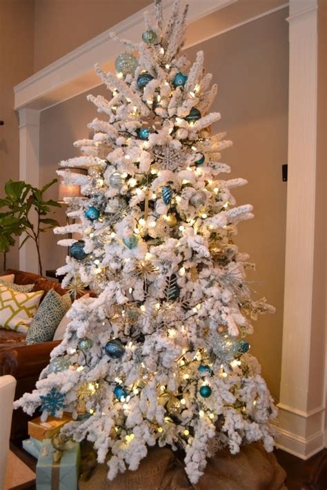flocked christmas tree a wintry look of your christmas