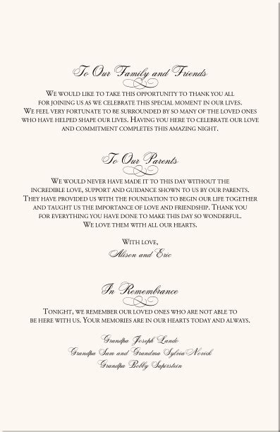 Wedding Blessing Letter by Sle Wedding Program Thank You Wedding Program