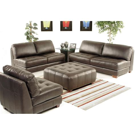 sofa chair set armless all leather tufted seat sofa loveseat and chair