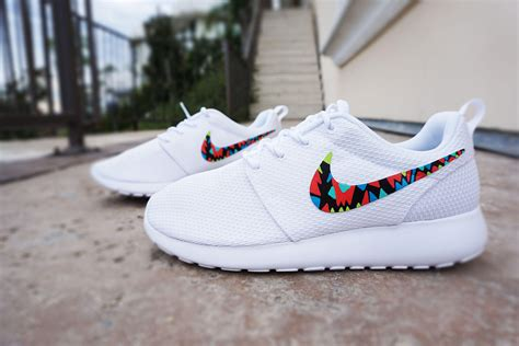 white nike sneakers for womens custom nike roshe run sneakers from custom sneakz