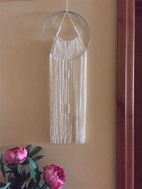 Beautiful Handmade Wall Hangings - macrame wool wall hanging white on silver ring