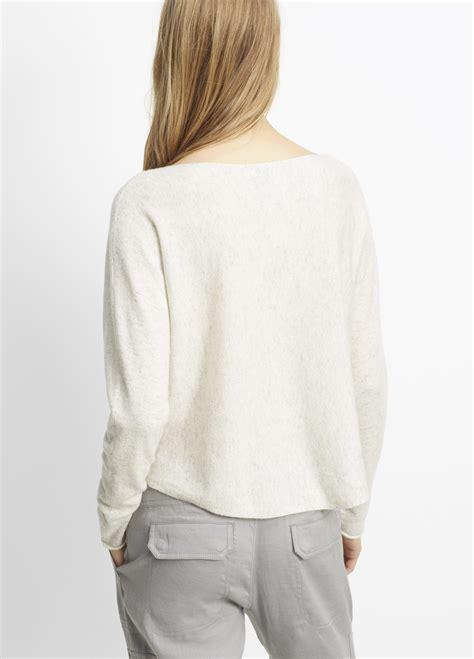 vince boatneck pullover cashmere sweater vince cashmere cropped boatneck sweater in gray lyst