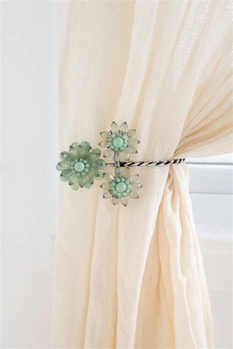 curtain tie backs images triple beaded flower curtain tie back