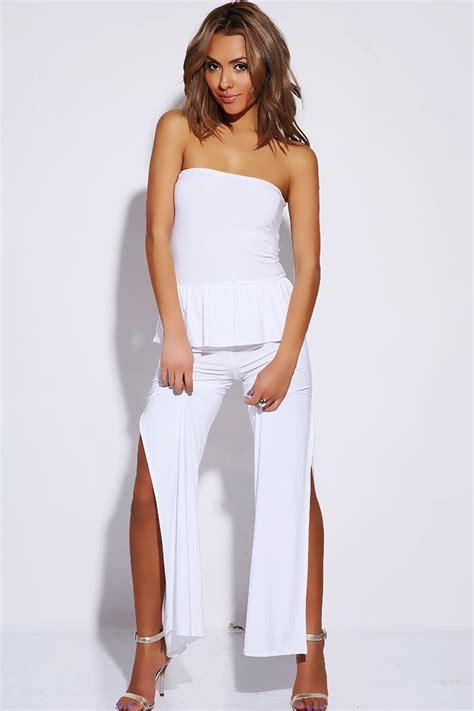 Jumpsuit Peplum Bordir White peplum high split jumpsuit white 183 sophisticates closet 183 store powered by storenvy