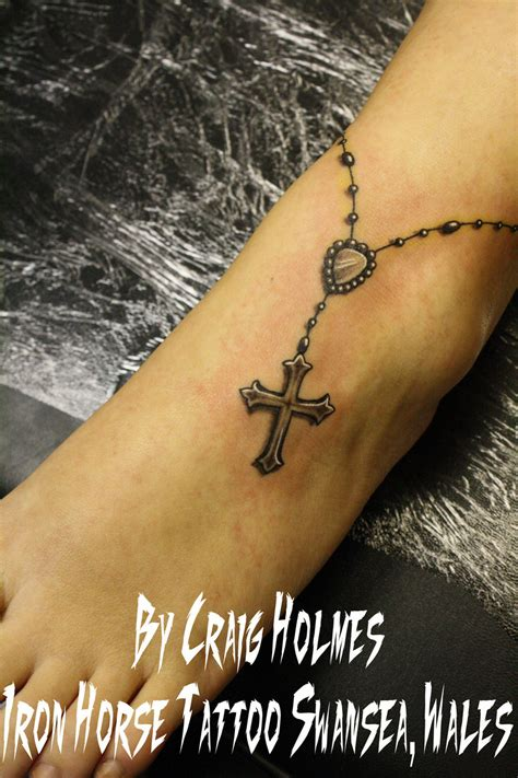 rosary beads with cross tattoo by craig holmes by