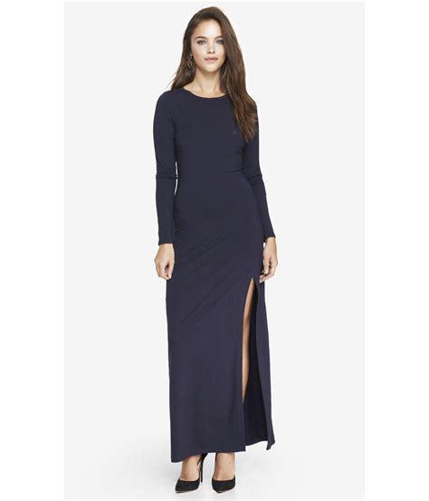 60720 Moschino Maxy Spandek express sleeve slit front maxi dress indigo in blue lyst