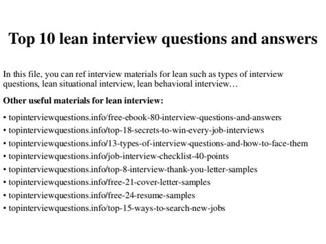 top 10 lean questions and answers