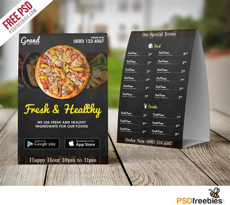 menu tent card template restaurant table tent menu template free psd