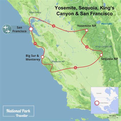 map san francisco to yosemite national park yosemite sequoia king s and san francisco