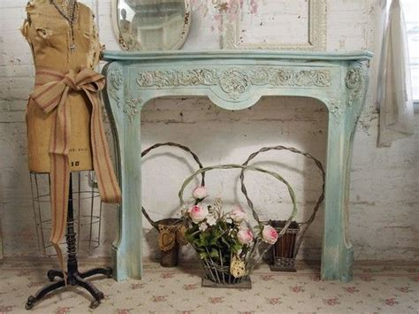 vintage painted cottage aqua chic fireplace mantel