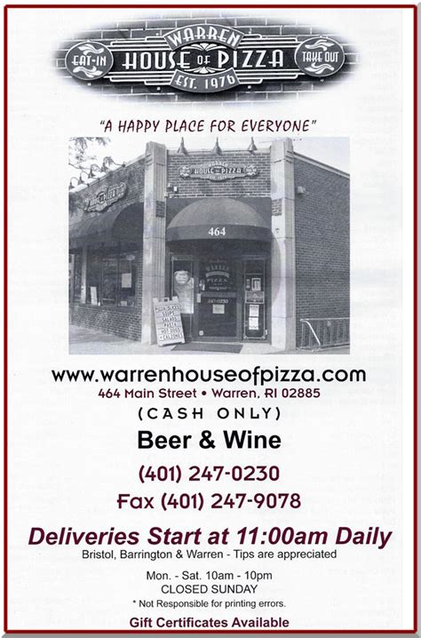 warren house of pizza warren house of pizza grinders pizza pasta salads more
