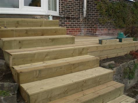 How To Build Steps With Railway Sleepers by Sheffield Landscaper Gallery Patios Decking Ponds Fencing