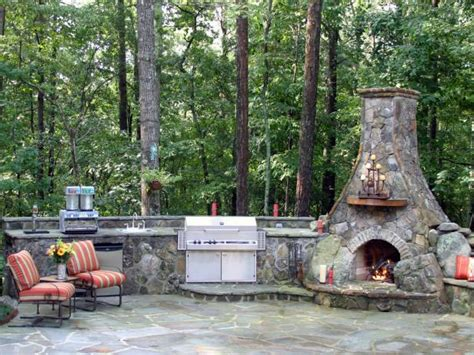 outdoor kitchen with fireplace options for an affordable outdoor kitchen diy