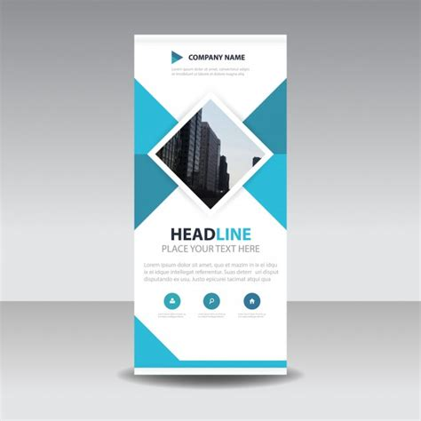 Blue Square Creative Roll Up Banner Template Vector Free Download Pull Up Banner Design Template