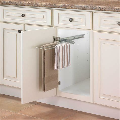 Towel Cupboard - 3 arm pull out steel towel bar cabinet organizer kitchen