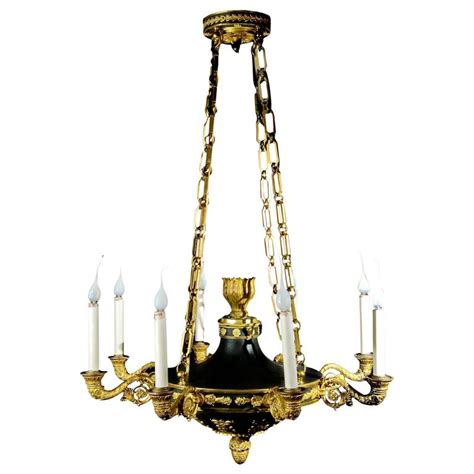 patina chandelier antique empire neoclassical gilt and patina