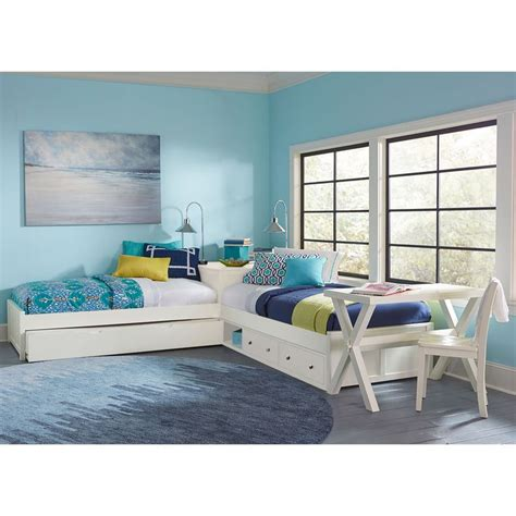 kids bedside l ne kids pulse white l shaped bed with storage and trundle