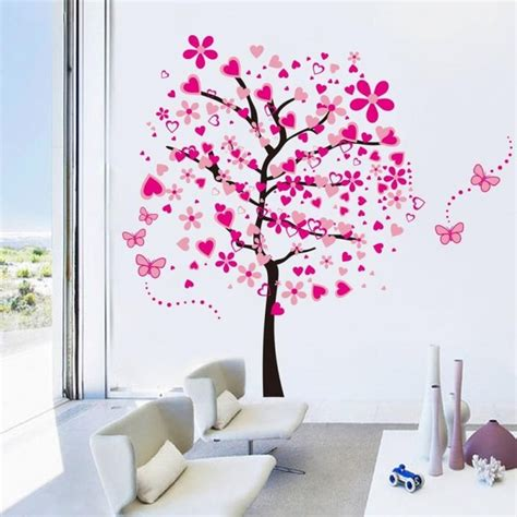 pink tree wall sticker pink tree butterfly wall stickers removable