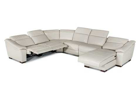 Jasper Light Grey Leather Sectional With Power Recliners