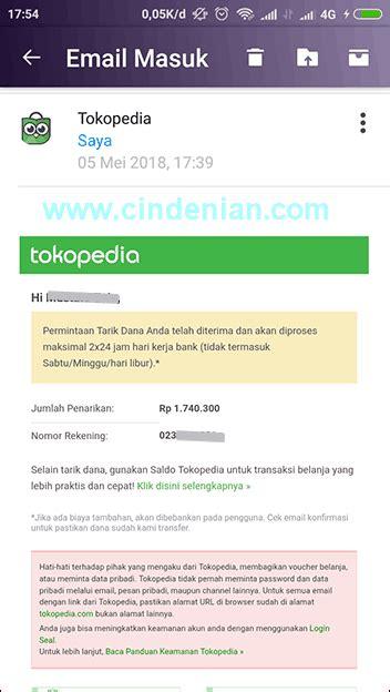 email tokopedia cara tarik saldo tokopedia ke rekening pribadi cindenian