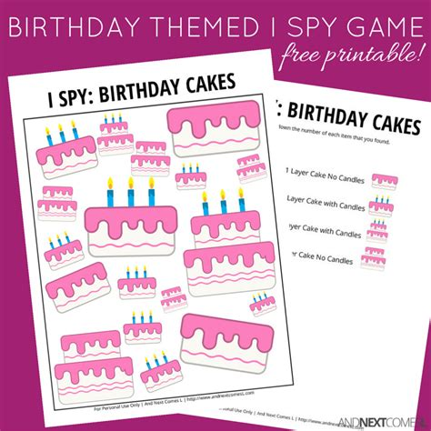 printable party games free birthday themed i spy game free printable for kids and