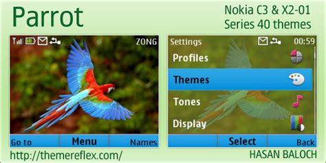 themes for nokia x2 01 with tones parrot theme for nokia c3 00 x2 01 themereflex