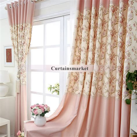 Pink Floral Curtains Printing Polka Dots And Pink Floral Curtains