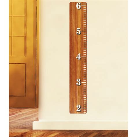 Animal Wall Murals oak wood ruler for kids with kids wall growth chart for