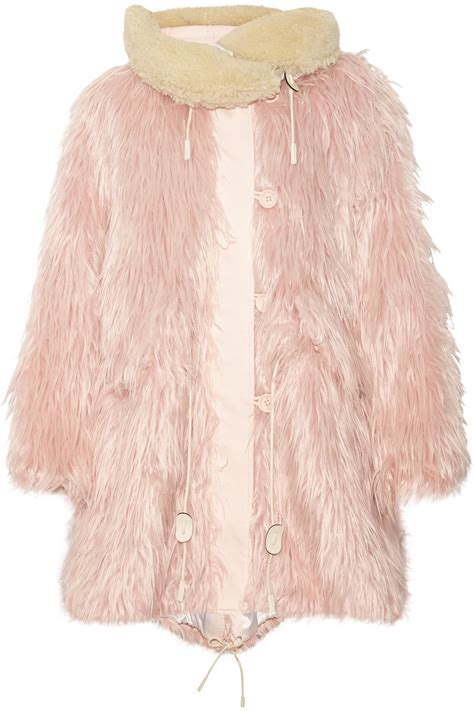 Pink Purse Speakers With Faux Fur Trim by Coach Fluffy Shearling Trimmed Faux Fur Coat In Pink Lyst