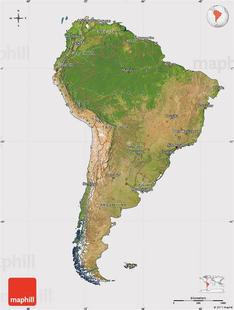 america map satellite satellite map of south america cropped outside