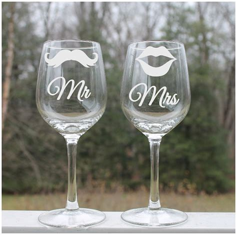 Etched Wine Glasses Etched Wine Glass Mustache Mr And Mrs Set By