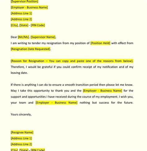 letter of resignation format resignation letter format fiveoutsiders