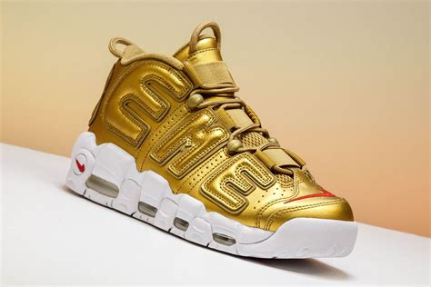 Nike Air More Up Tempo Gold White cheap supreme x nike air more uptempo metallic gold white