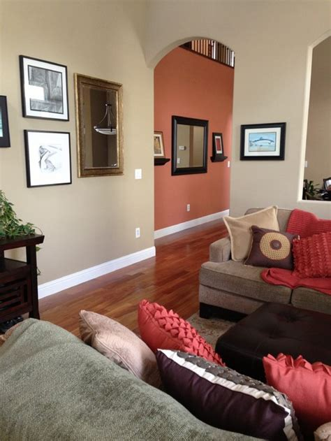 Beige Living Room Accent Wall What Is The Orange Wall Color Would It Work W Shaker
