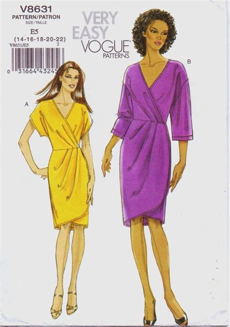 vogue pattern ease very easy vogue pattern v8631 womens wrap dress size 14 16