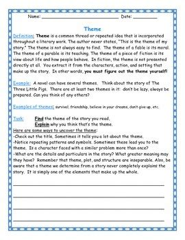 themes in literature worksheets by deb hanson teachers theme worksheet calleveryonedaveday