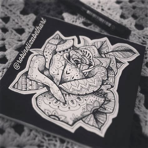 kd 151 tattoo pen henna inspired rose tattoo art original pen by
