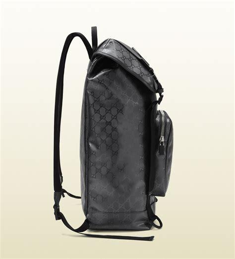 lyst gucci gg imprime interlocking g backpack in black for