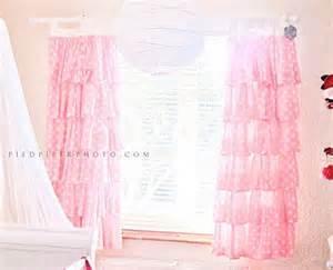 Ruffled Pink Curtains Pink Polka Dot Ruffled Curtains By Paulaanderika On Etsy