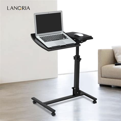 tv stand with computer desk angle height adjustable laptop notebook rolling