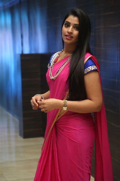 Syamela Syari global pictures gallery anchor syamala glamourous spicy pink traditional saree