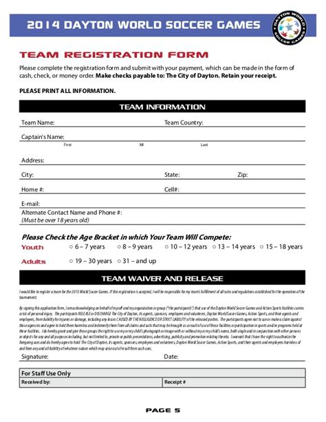 soccer registration form template dayton world soccer 2014 registration packet