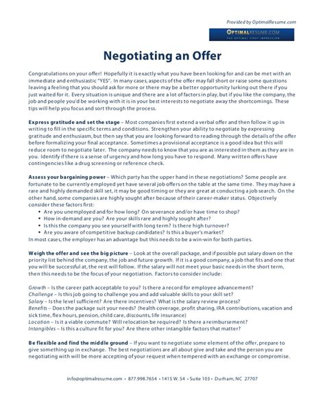 Negotiating Offer Letters Negotiating A Offer