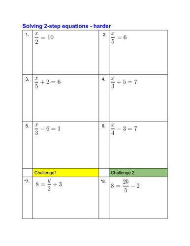 Solving Two Step Equations Worksheet Pdf by Solving Equations Worksheets By Pittan Teaching