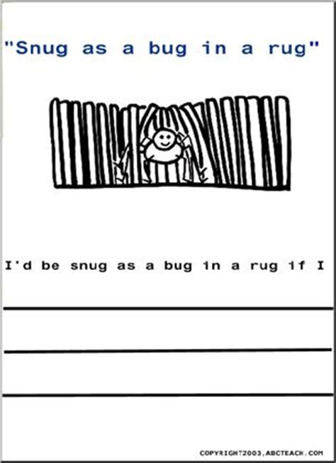 color and write sayings snug as a bug in a rug abcteach