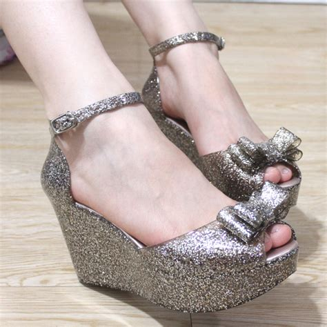 Sendal Wedges Jelly Transparan Gliters 210 bling 2013 jelly shoes glitter bow open toe sandals plastic s wedges shoes free