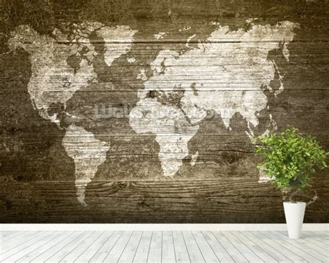 wood wall mural world map on wood wallpaper wall mural wallsauce usa