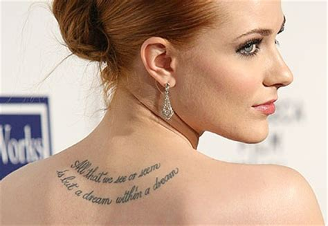 best celebrity tattoos evan rachel