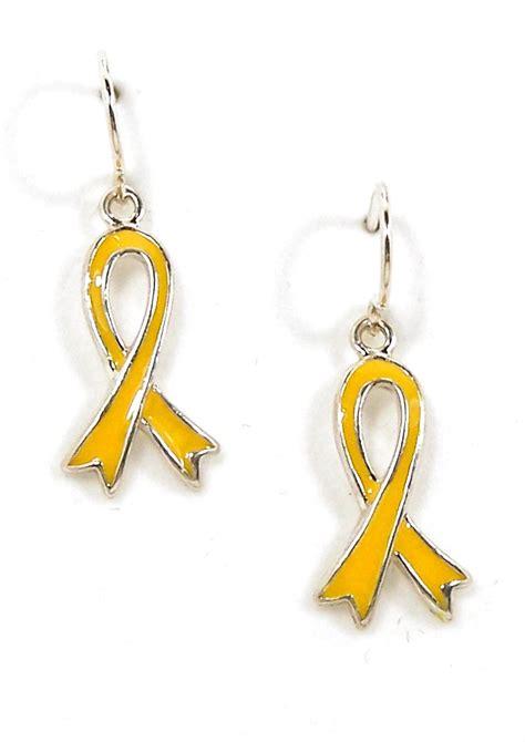 Ribbon Earrings yellow ribbon awareness earrings