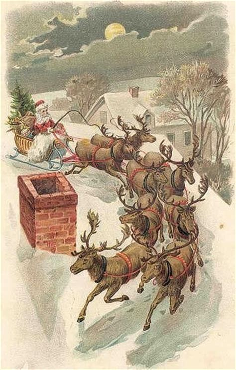 santa and reindeer on rooftop olde yuletide pinterest